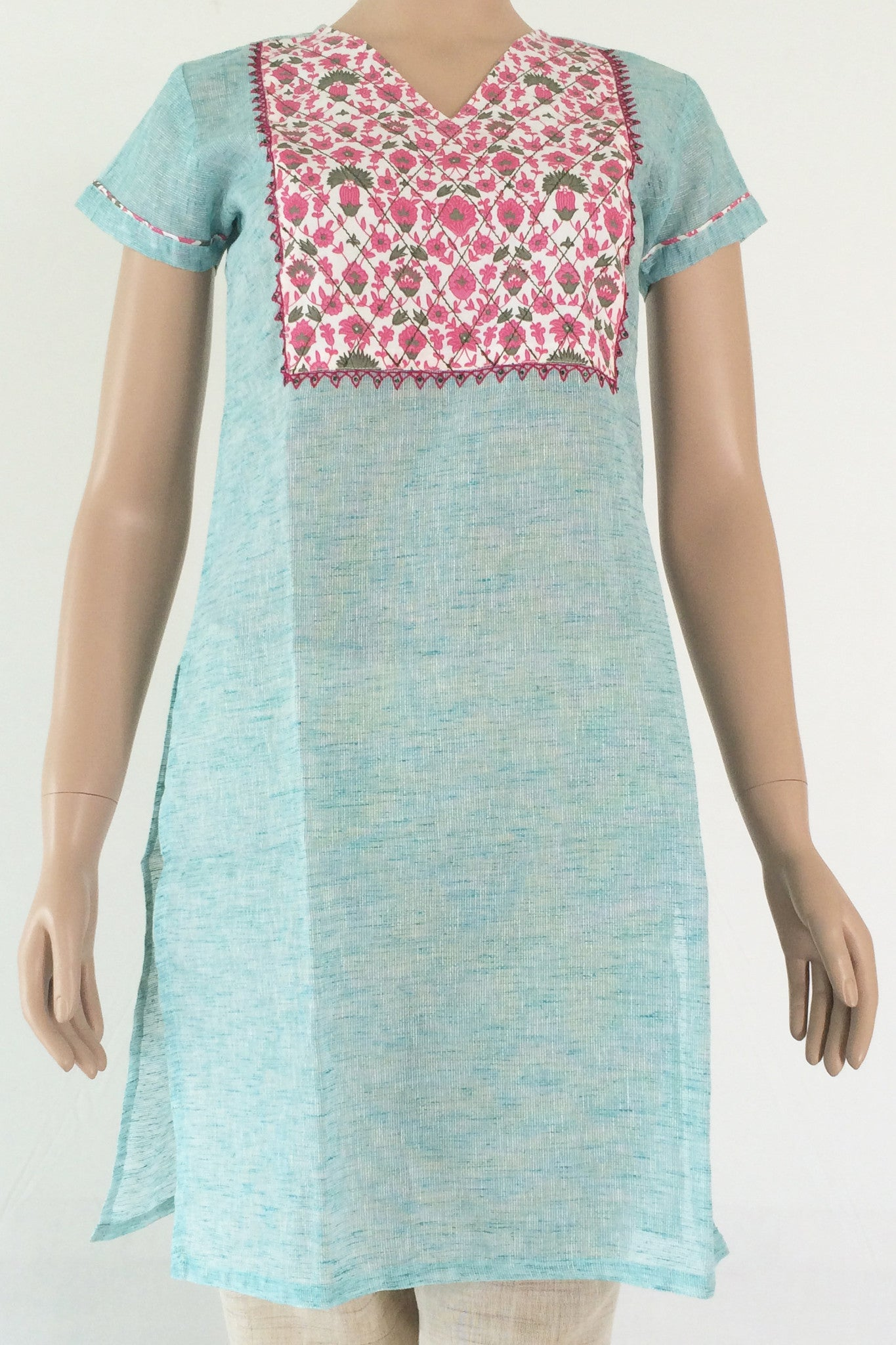 Sea green linen short sleeve kurta with floral pink yoke