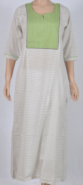 Long gown cotton Nightie white base floral three-fourth sleeve
