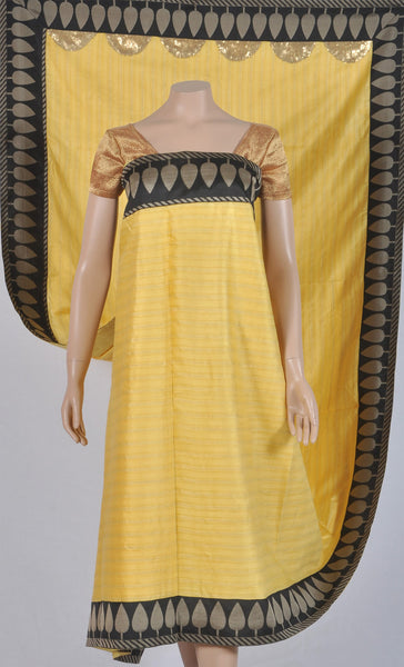 Sun yellow silk sari with black sandal leaf border and gold khichdi work