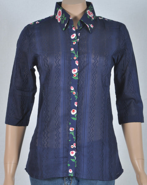 Navy blue cotton shirt, floral rayon collar, full open buttoned
