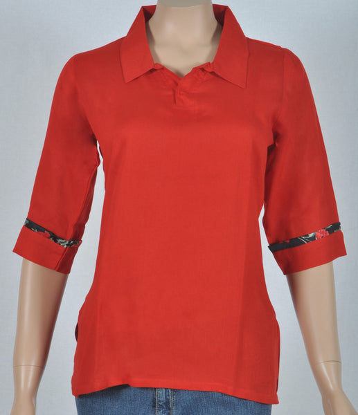 Blood red rayon shirt, collared