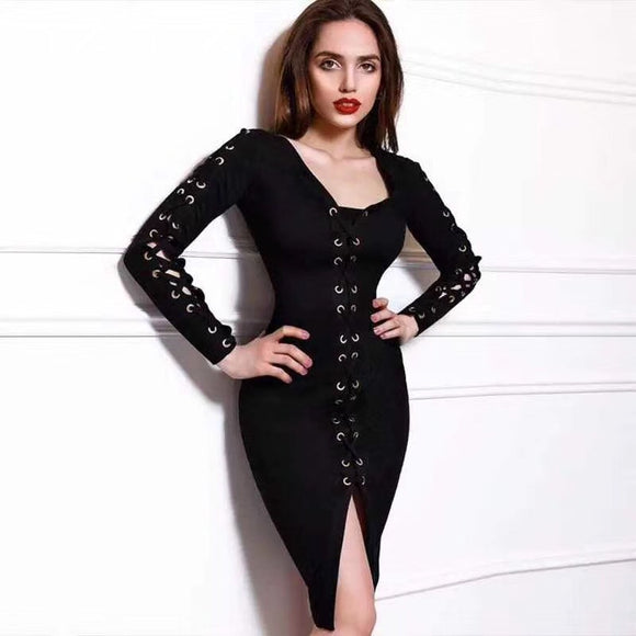 2017 Trendy Deep V Hollow Out Lace Up Bandage Dress - Kissmiss Ireland