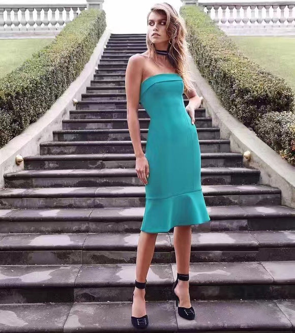 Strapless Mermaid Bandage Midi Dress - Kissmiss Ireland