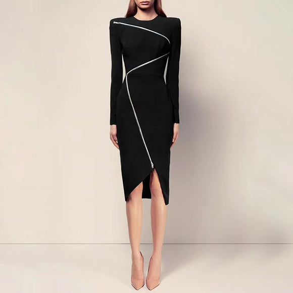 2018 New Sexy Zippers Split Midi Bandage Party Dress