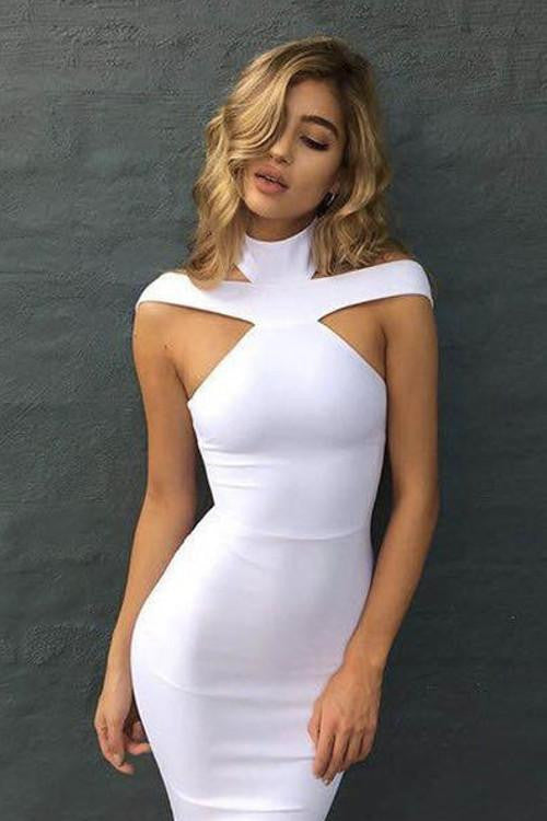 Elegant Cut Out Off Shoulder Bandage Dress - Kissmiss Ireland
