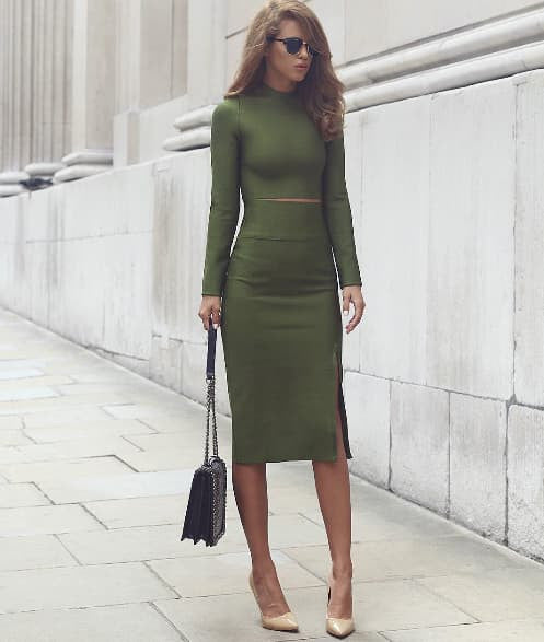 Amie Green Two-Piece Long Sleeve Bandage Dress - Kissmiss Ireland