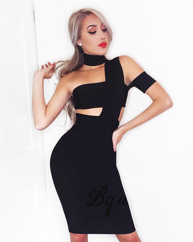Cut Out One Shoulder Bandage Dress Sexy Bodycon Club Party Dress
