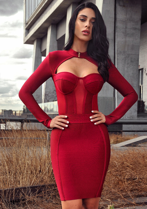 High Neck Bustier Long Sleeve Red Bandage Dress - Kissmiss Ireland