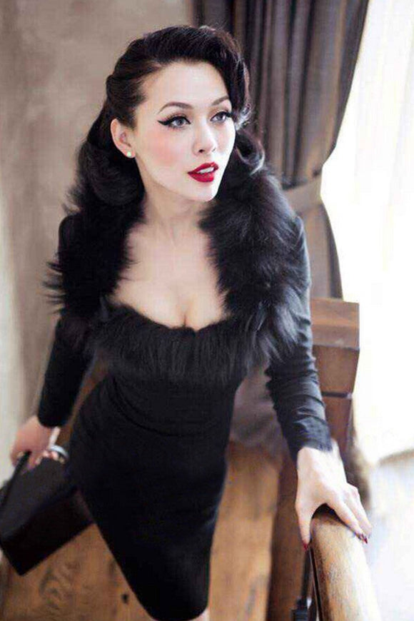 Le palais vintage Long Sleeve Fur Trim Bandage Dress