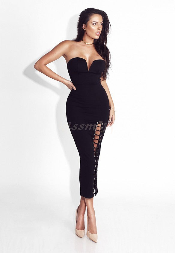 Sexy Hollow Out Mid Calf Strapless Bandage Dress Club Dress - Kissmiss Ireland