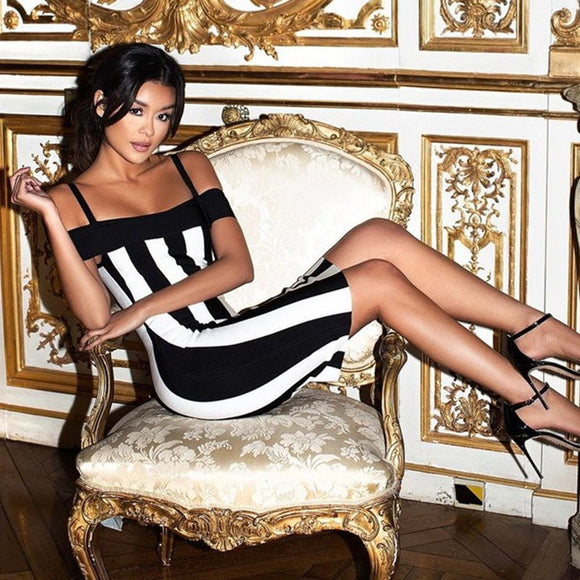 Black & White Striped Bodycon Party Dress - Kissmiss Ireland