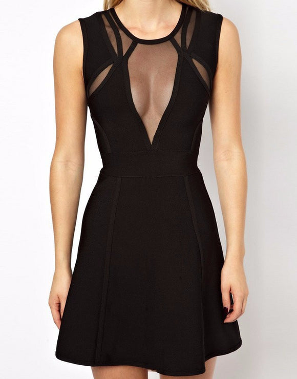 Black mesh sleeveless tank bandage dress cocktail dress - Kissmiss Ireland