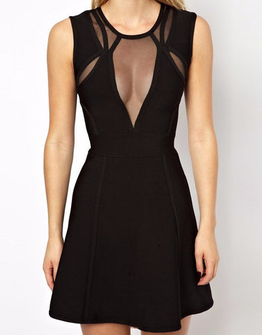 Black mesh sleeveless tank bandage dress cocktail dress