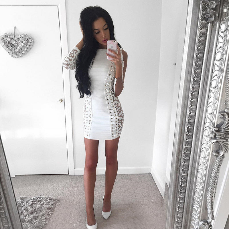 2018 New Lace Up Hollow Out Long Sleeve Bandage Dress Club Wears - Kissmiss Ireland
