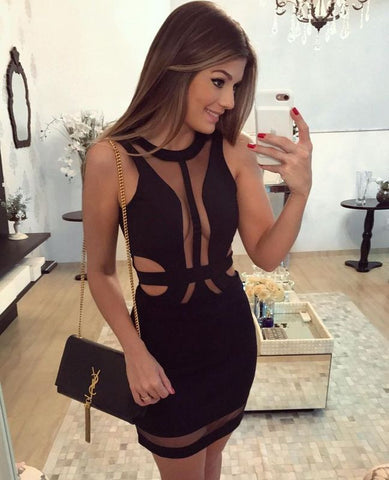 Black sheer mesh one piece bandage dress