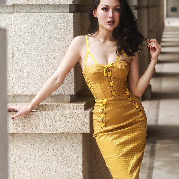 Le palais vintage Elegant Gird Dress with Bandage Fish Bone Corset Type
