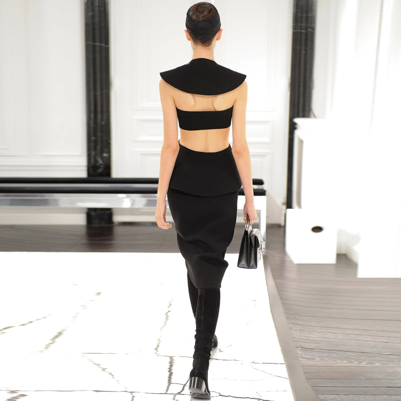 2018 New Sexy Black Cut Out Backless Bandage Dress