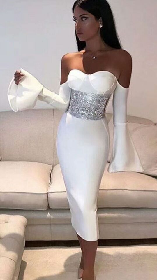 Slash Neck Strapless Ruffles Bandage Dress with Crystal Waist - Kissmiss Ireland