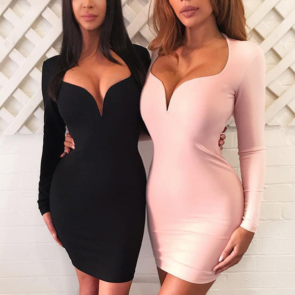2017 Asymmetrical Neck Sheath Mini Bandage Dress - Kissmiss Ireland