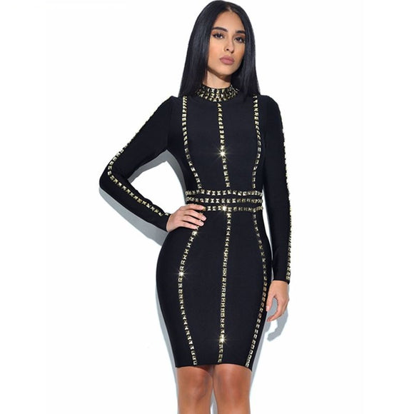New long sleeve gold beaded bandage bodycon dress