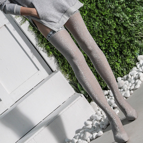 Le palais vintage Silver Lurex Boot Sock & Stockings
