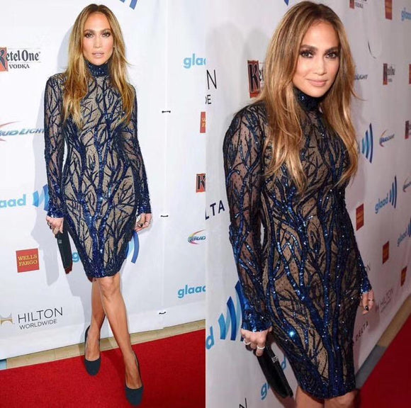 Jennifer Lopez New Style Long Sleeve Blue Mesh Celebrity Bodycon Dress