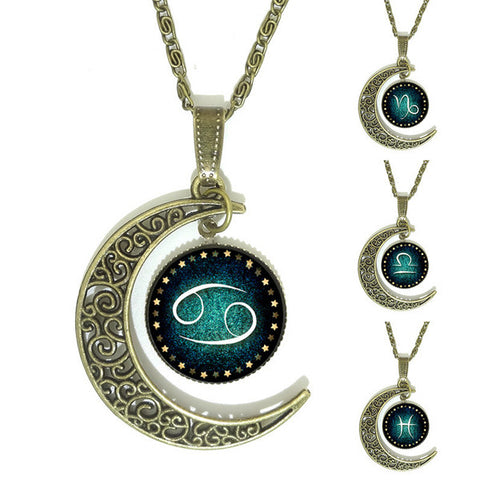Moon and Zodiac Necklace