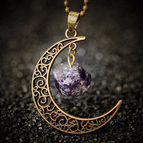 Natural Stone & Moon Necklace