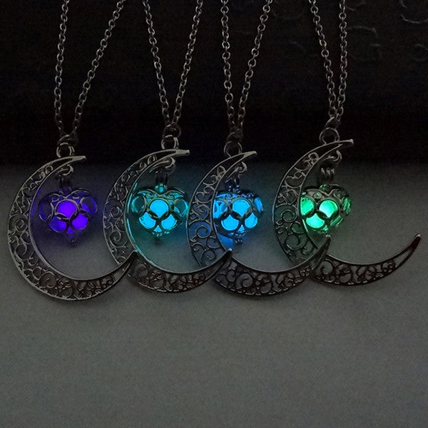 Glow In the Dark Lockets & Moon Necklace
