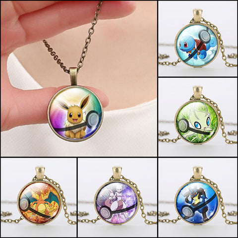 Gold Glass Pokemon Pendant