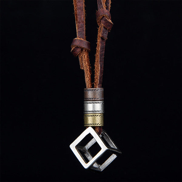 Leather Cube Pendant Necklace