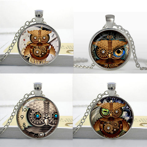 Clockwork Owl Glass Pendants