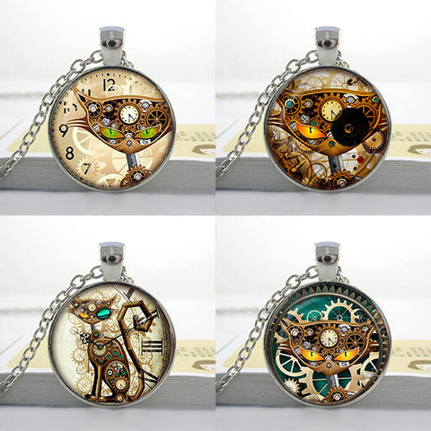 Clockwork Cat Glass Pendants