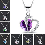 Lady Heart Crystal Pendant Necklace
