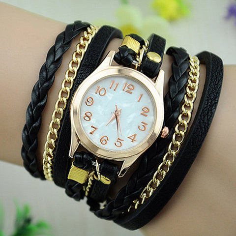 Beautiful Leather & Chain Watch
