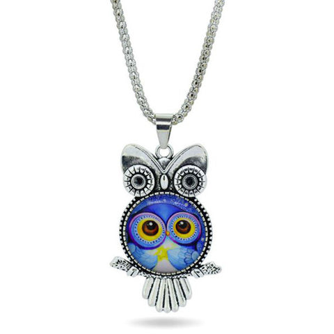 Colorful Owl Pendant with Glass Belly