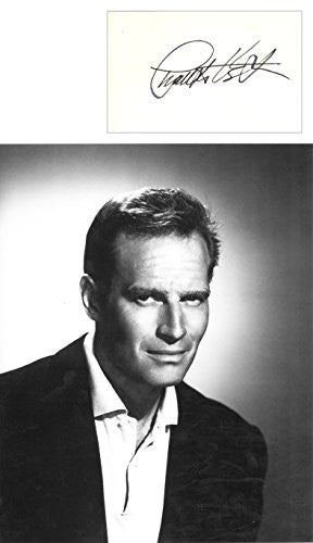 Charlton Heston Signed Card with 8x10 Photo UACC