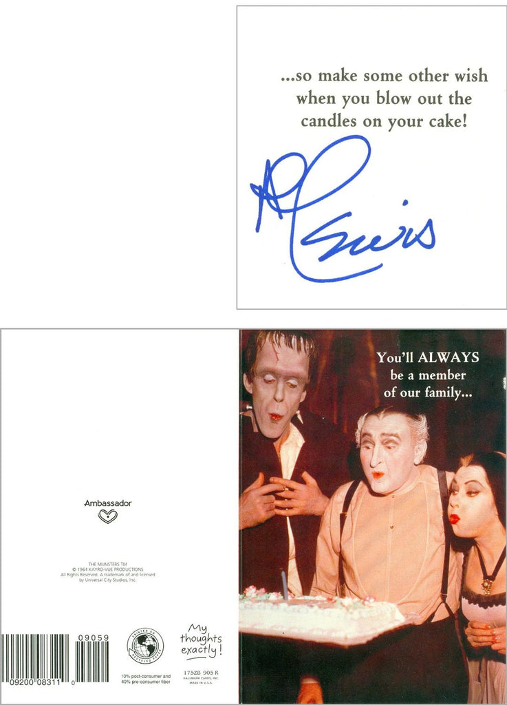 Al Lewis Munsters authentic signed gift card UACC Autograph Dealer Al Lewis