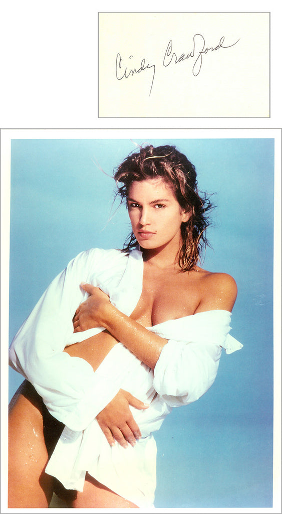Cindy Crawford 8x10 photo with separate autographed card UACC Dealer Cindy Cr...