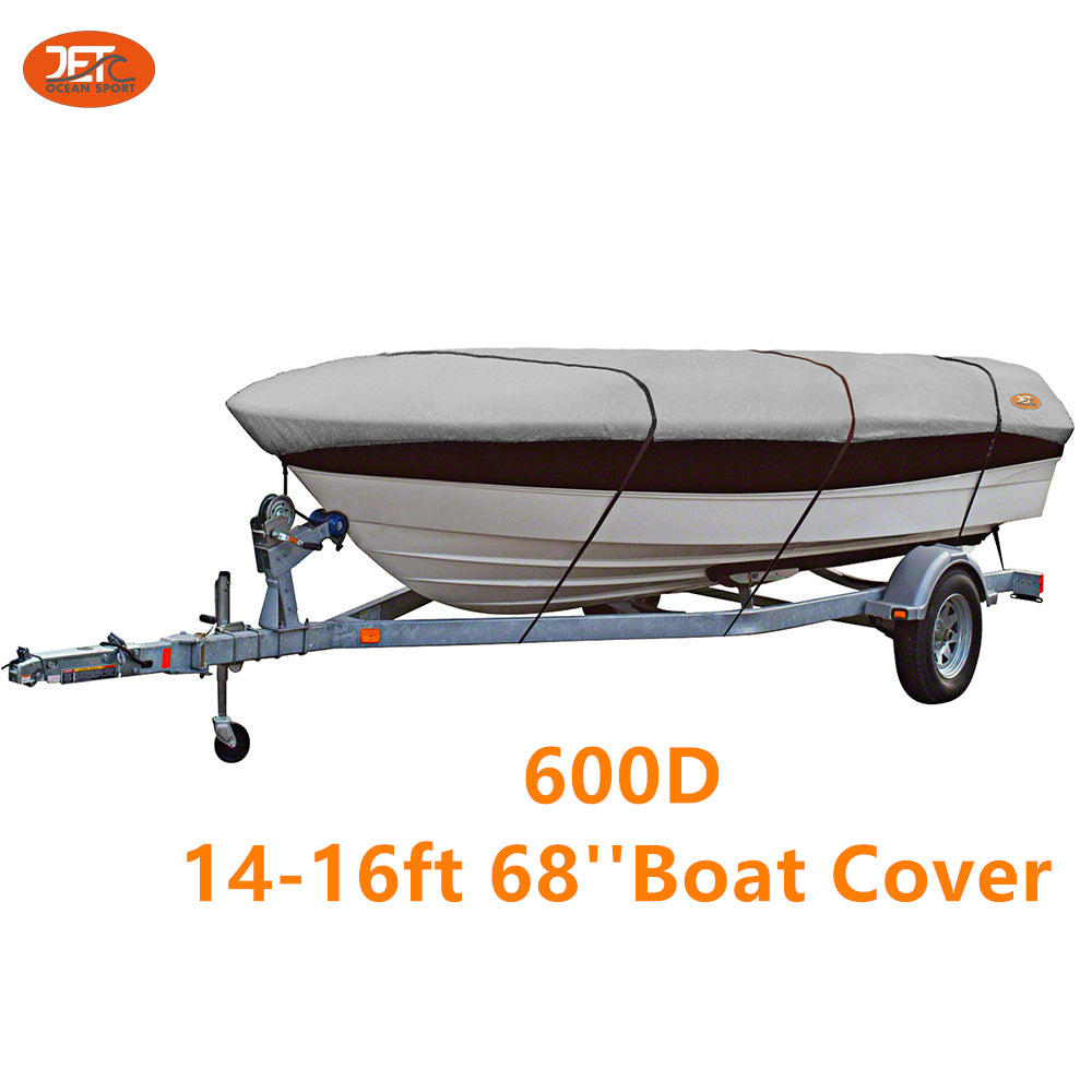 Premium 600D 14-16ft 68'' Marine Grade Trailerable Fishing Boat Cover