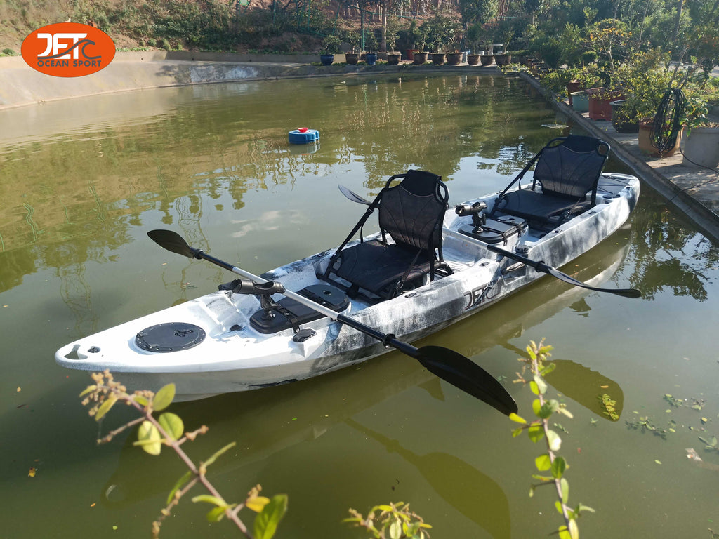 New 3.7M 2.5 Seaters 2+1 Double Family Fishing Kayak with Aluminium Seat