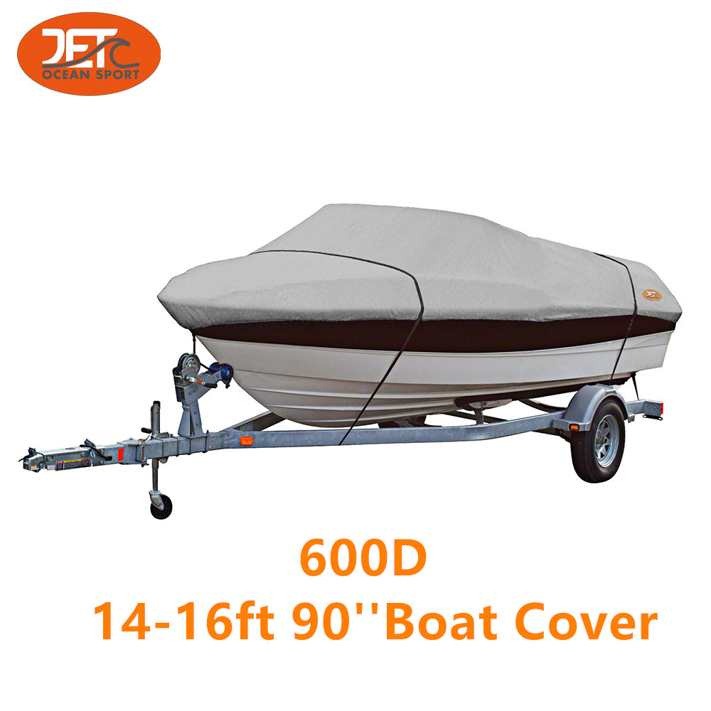 600D 14-16ft 90'' Marine Grade Trailerable Fishing Boat Cover