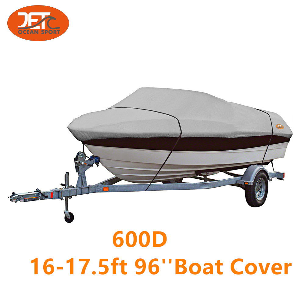 600D 16-17.5ft 96'' Marine Grade Trailerable Fishing Boat Cover
