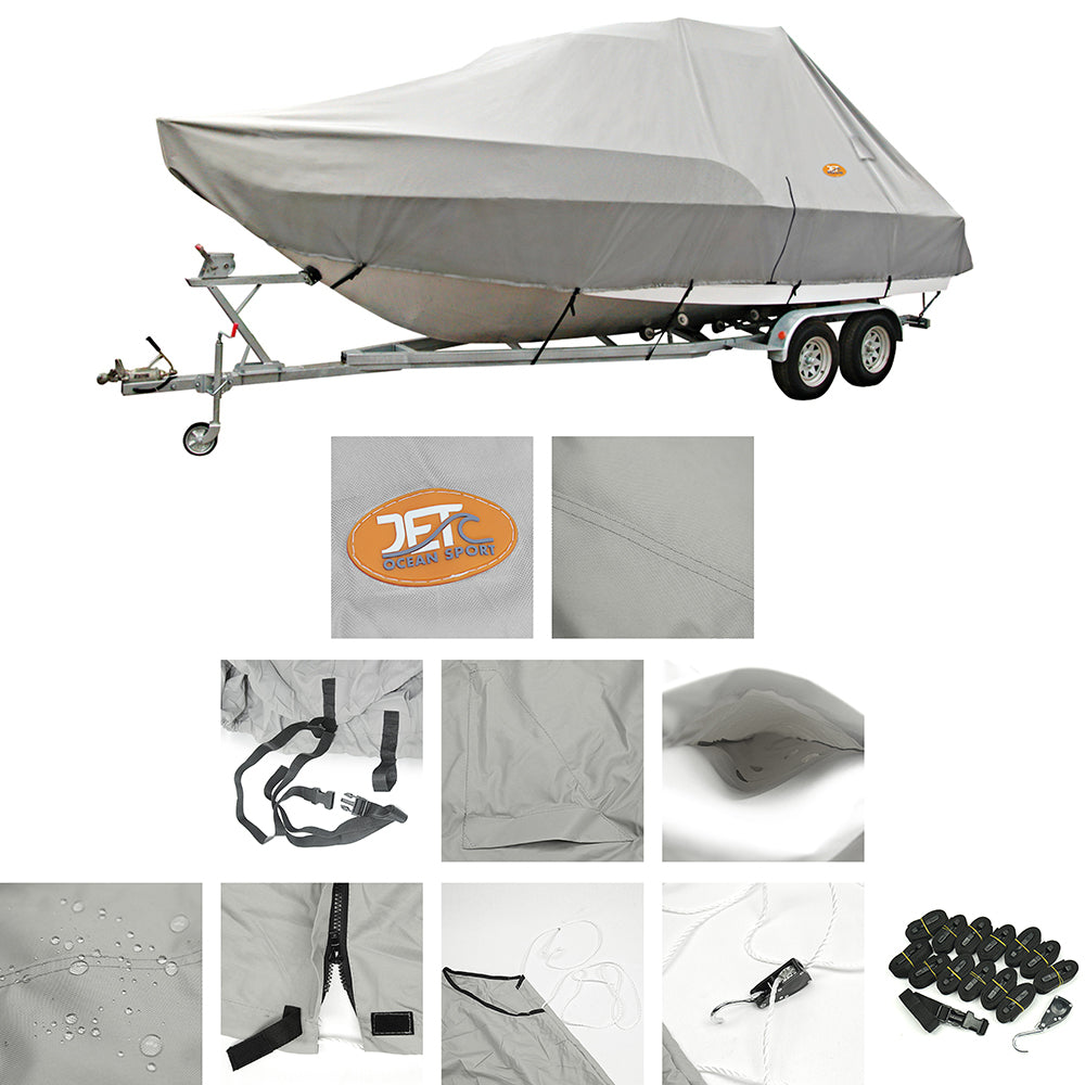 Heavy-Duty 600D 19-20ft (5.7-6.0m) 96'' Trailerable Jumbo Boat Cover