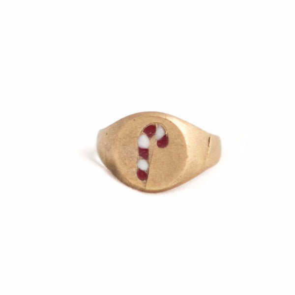 """L"" LETTER ENAMELED BRONZE CHEVALIER RING - Archaeological line"