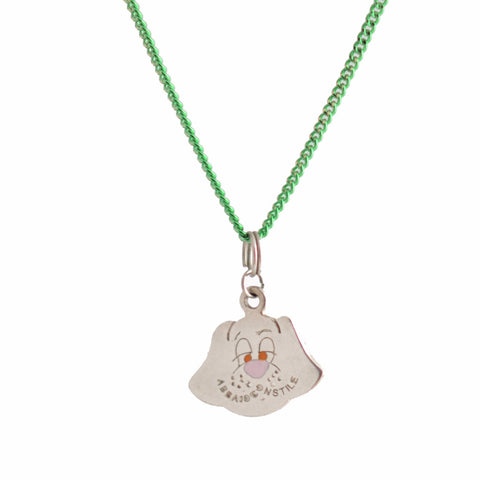 DOG SILVER PENDANT with green chain