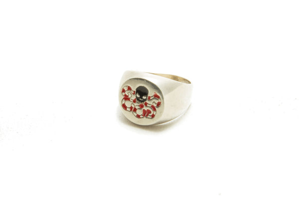 Octopuss SILVER LIGHT ENAMELED RING