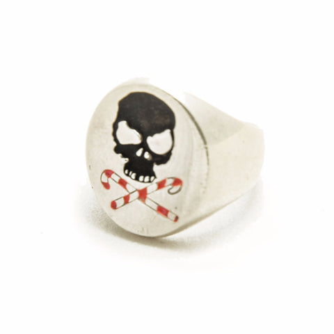 LUCKY CROSSED CANES BLACK, WHITE AND RED ENAMELED CHEVALIER RING