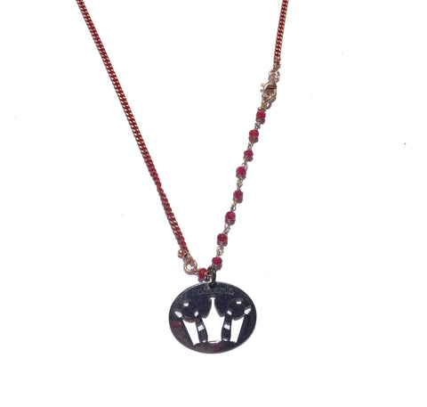 LUCKY CROWN SILVER DARK BIG PENDANT with red chain