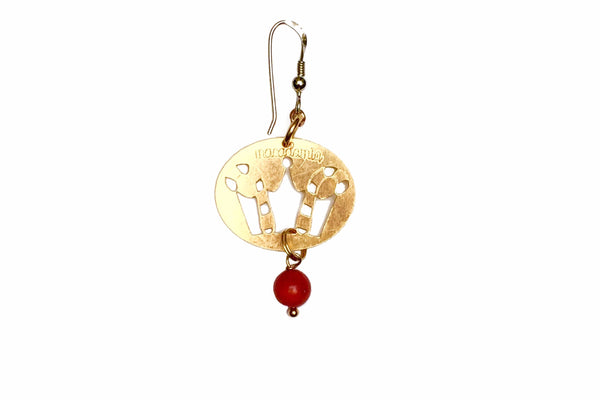 LUCKY CROWN GOLDEN BRONZE BIG EARRING